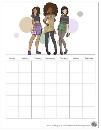 Glitter Girls Monthly Printable Calendar