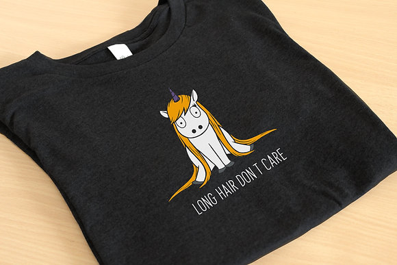 Unicorn 'Long Hair Don't Care' Unisex Graphic Tee