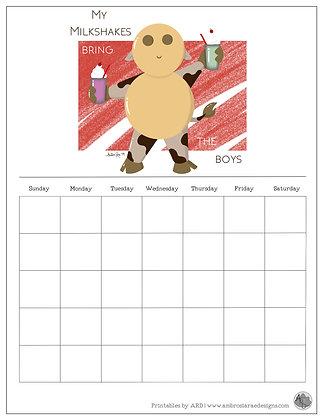 'My Milkshakes' Red Monthly Printable Calendar