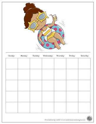 Floating Monthly Printable Calendar