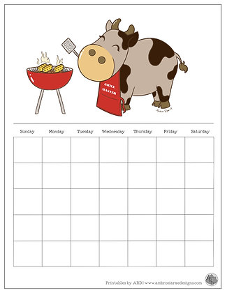 Cow Grilling Monthly Printable Calendar