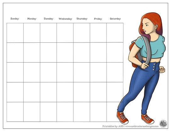 Backpack Monthly Printable Calendar