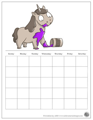 Painted Unicorn Monthly Printable Calendar