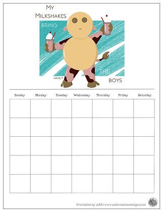 'My Milkshakes' Turquoise Monthly Printable Calendar