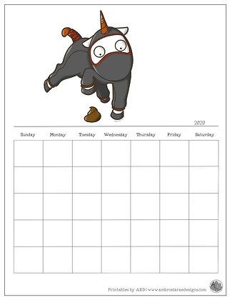 Poop Ninja Unicorn Monthly Printable Calendar