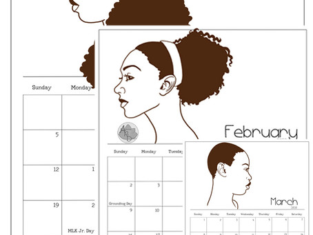2020 Natural Hair Printable Calendar