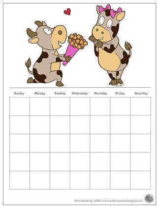 Romancing Cows Monthly Printable Calendar