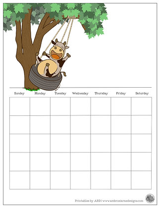 Swinging Cow Monthly Printable Calendar
