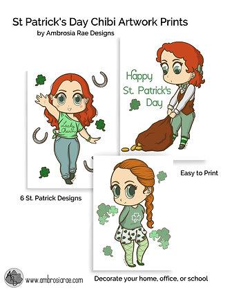 St. Patrick's Day Chibi Printable Art (Pack of 6)