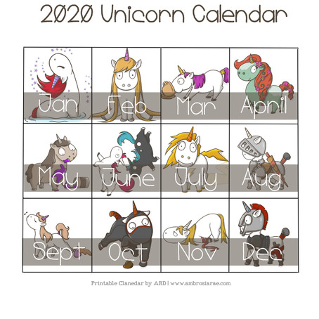 2020 Unicorn Yearly Printable Calendar