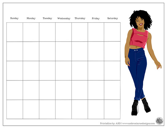Walk It Off Monthly Printable Calendar