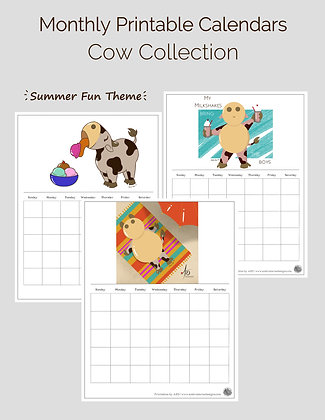Summer Theme Cow Collection Monthly Printable Calendar