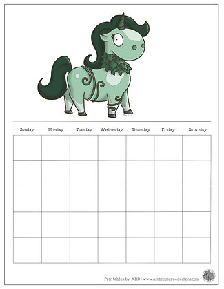 Vine Unicorn Monthly Printable Calendar