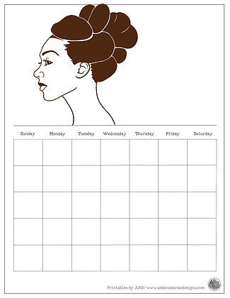 Natural Hair Updo Monthly Printable Calendar