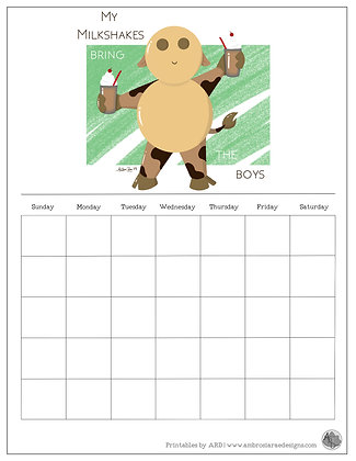 'My Milkshakes' Green Monthly Printable Calendar