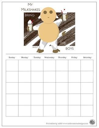 'My Milkshakes' Brown Monthly Printable Calendar