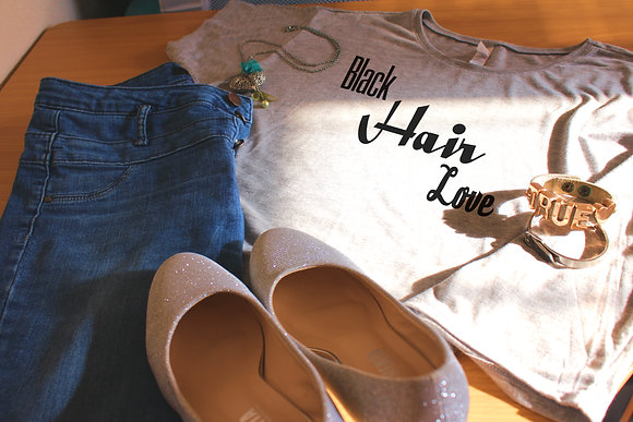 Women's Tops 'Black Hair Love' Natural Hair Boxy Crop Tee