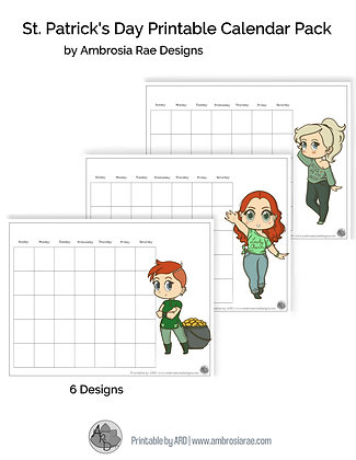 St Patrick's Chibi Art Monthly Printable Calendar Collection