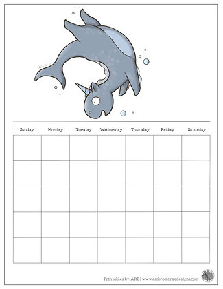 Water Unicorn Monthly Printable Calendar