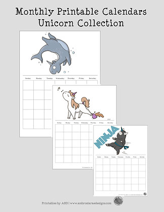 Unicorn Collection Monthly Printable Calendar