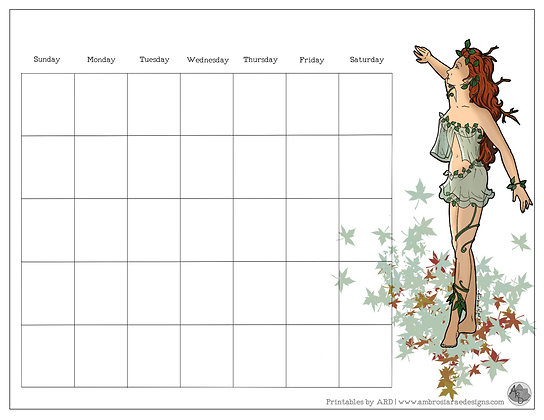 Mother Nature Monthly Printable Calendar