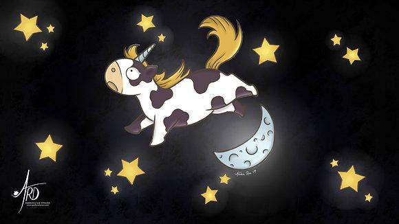 Over the Moon Unicorn Desktop Background Wallpaper