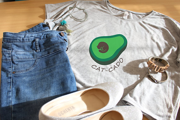 Women's Tops 'Cat-Cado' Boxy Crop Tee