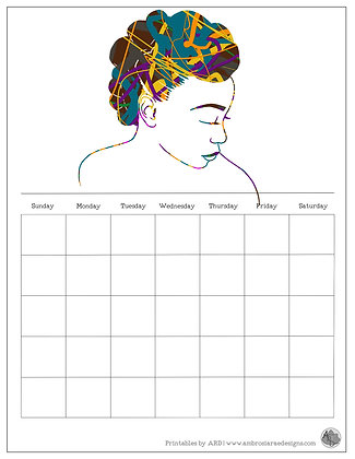 Knotted Natural Hair Abstract Monthly Printable Calendar