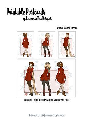Winter Fashions Printable Postcards