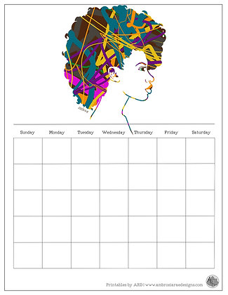 FroHawk Natural Hair Abstract Monthly Printable Calendar