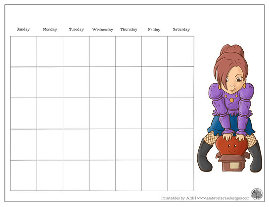 Love Girl Monthly Printable Calendar