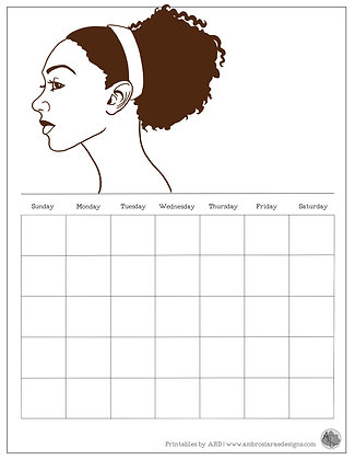 Pulled Back Natural Monthly Printable Calendar