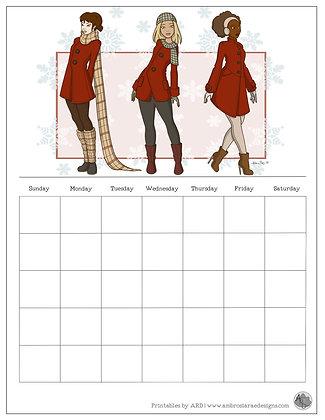 Winter Coat Monthly Printable Calendar