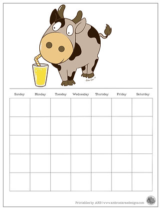Lemonade Cow Monthly Printable Calendar