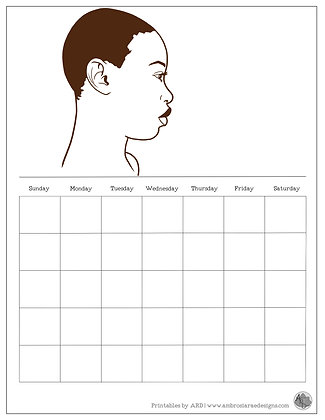 Natural Hair Monthly Printable Calendar