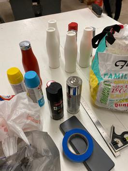 Sanding down the 3D printed bottles
