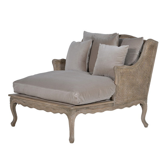 Fawn Velvet Long Salon Chair