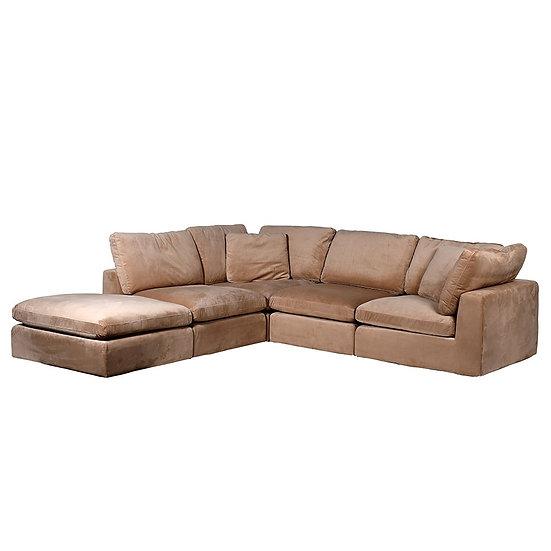 Pale Russet Velvet Corner Sofa