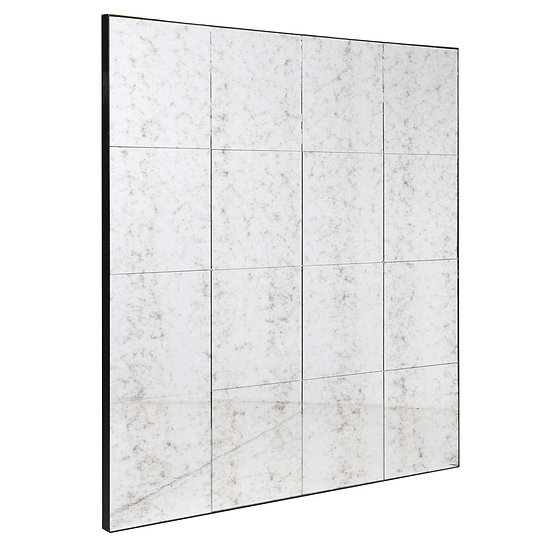 Antiqued Panel Squares Wall Mirror