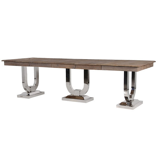Recycled Pine & Steel Extending Dining Table