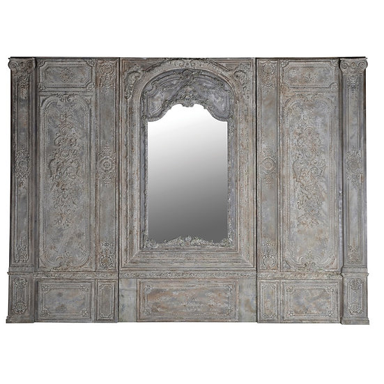 Elaborate Three Piece Wall Panel with Mirror