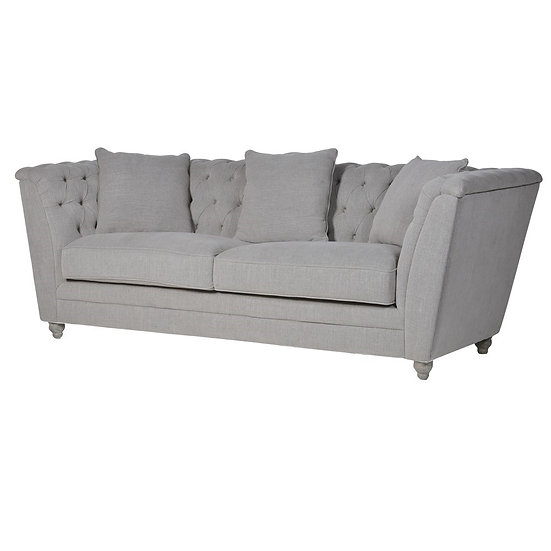 Fawn Buttoned 3 Seater Box Sofa
