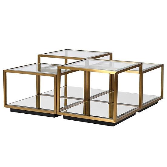 Glass Top Multi Level Modular Coffee Table