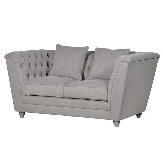 Fawn Buttoned 2 Seater Box Sofa