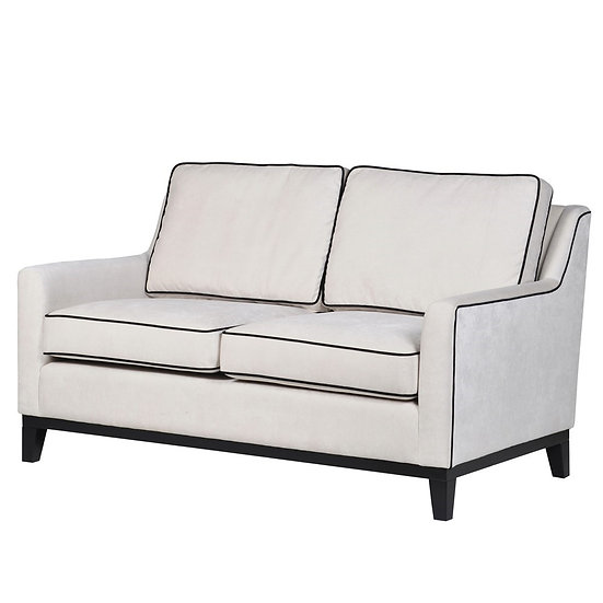 Cream 2 Seater Sofa with Piping
