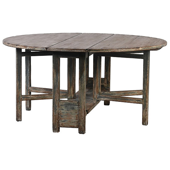 Round Reclaimed Pine Drop-Leaf Dining Table