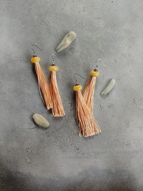 Jade Blush Champagne Tassel Earrings