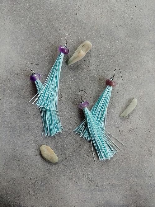 AmethystAqua Tassel Earrings