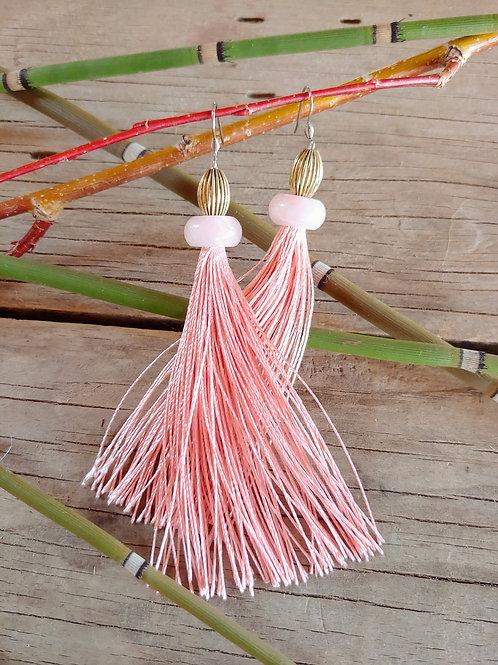 Rose Quartz Light Pink Tassel Earrings