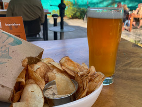 Burgers, Beers & Chips at Ninkasi's Better Living Room in Eugene, OR.